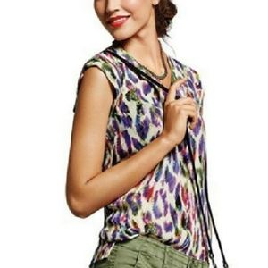 CAbi Plume Feather Print Blouse Top #5027